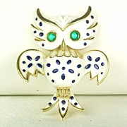 Vintage 1967 Trifari Enamel Pet Series Owl Pin