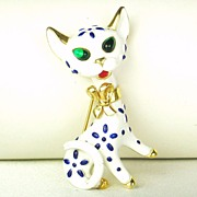 1967 Trifari Pet Series Enamel Cat Brooch