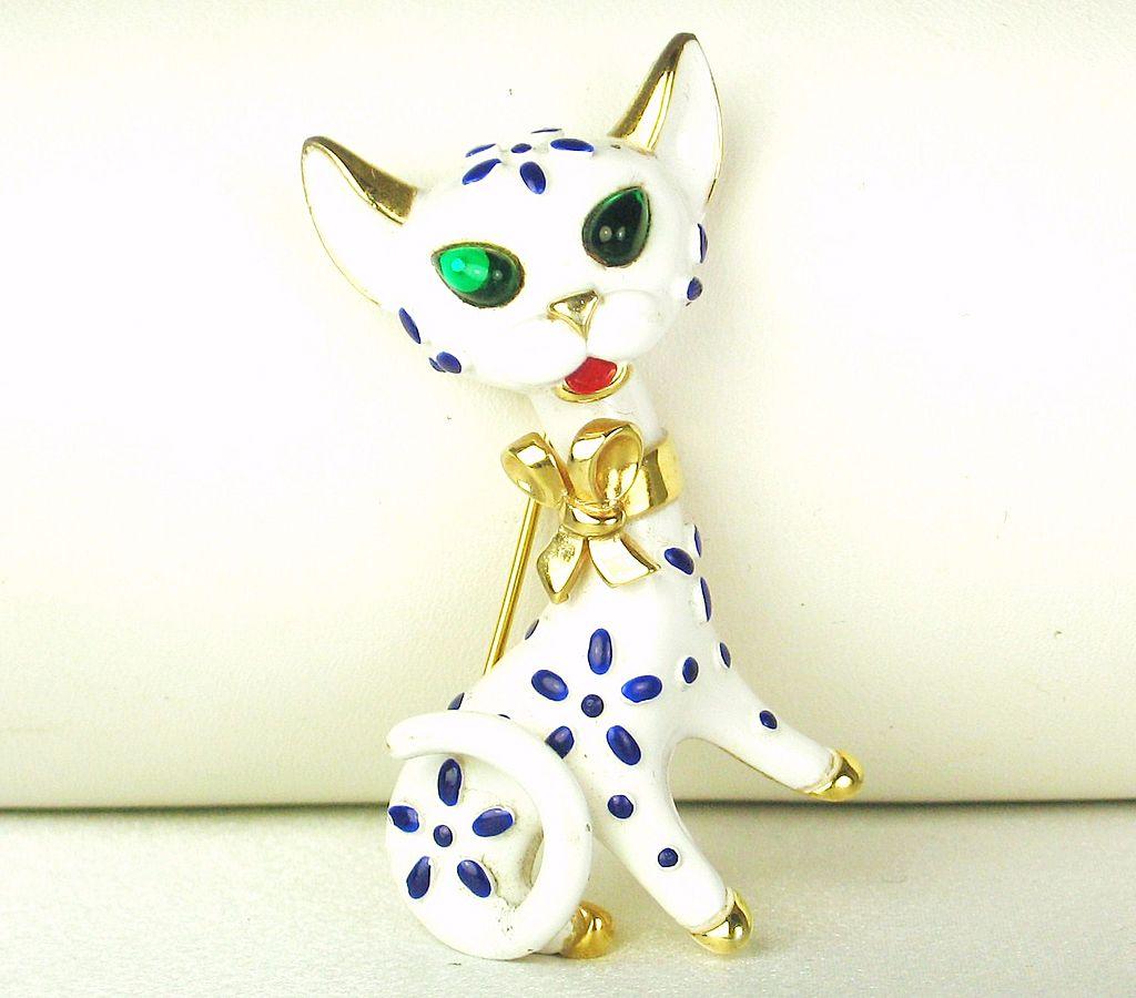 1967 Trifari Pet Series Enamel Cat Brooch