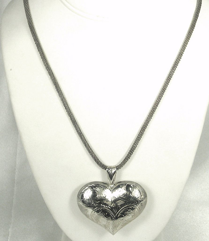 Large 925 Sterling Silver Engraved Heart Pendant Necklace