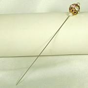 Imitation Pearl Aurora Borealis Rhinestone & Gold Tone Filigree Stick Pin
