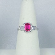 Estate 10kt Gold, 1.12 carat Synthetic Pink Ruby and Diamond Ring
