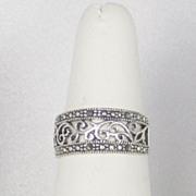 Vintage Estate 925 Sterling and Marcasite Floral Ring
