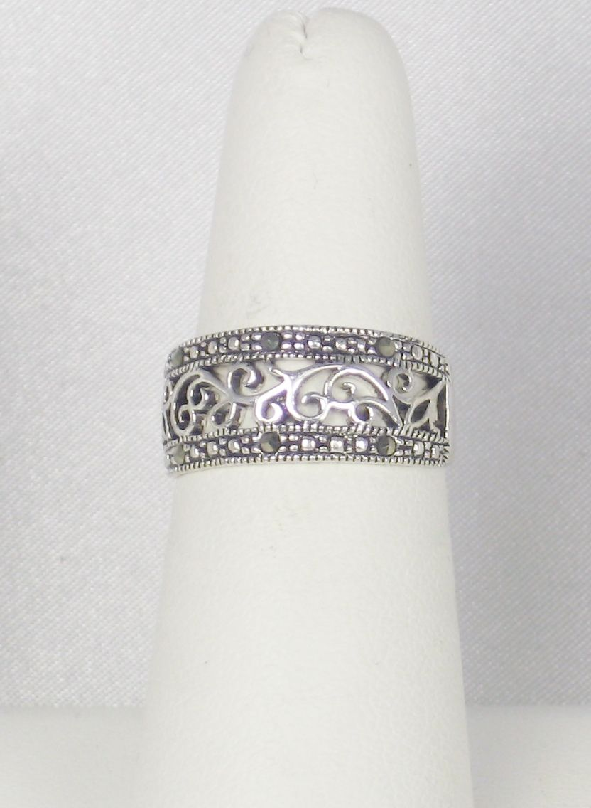 Item ID: 2587- Sterling Marcasite Ring In Shop Backroom