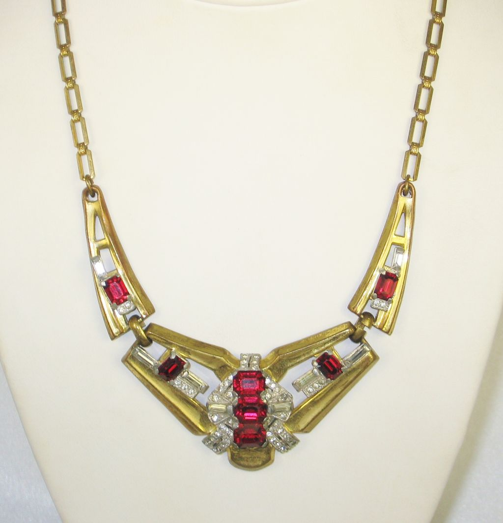Art Deco McClelland Barclay Red Emerald Cut Glass Necklace