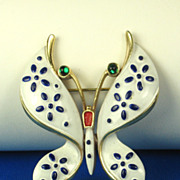Vintage Trifari Pet Series 1967 Precious Pets Butterfly Pin