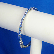 Vintage Blue Topaz Colored Rhinestone Bracelet