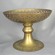 Large Vintage Indian Floral Brass Compote