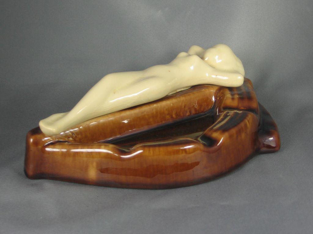 Art Deco Era Ceramic Ashtray with Nude Figural Woman
