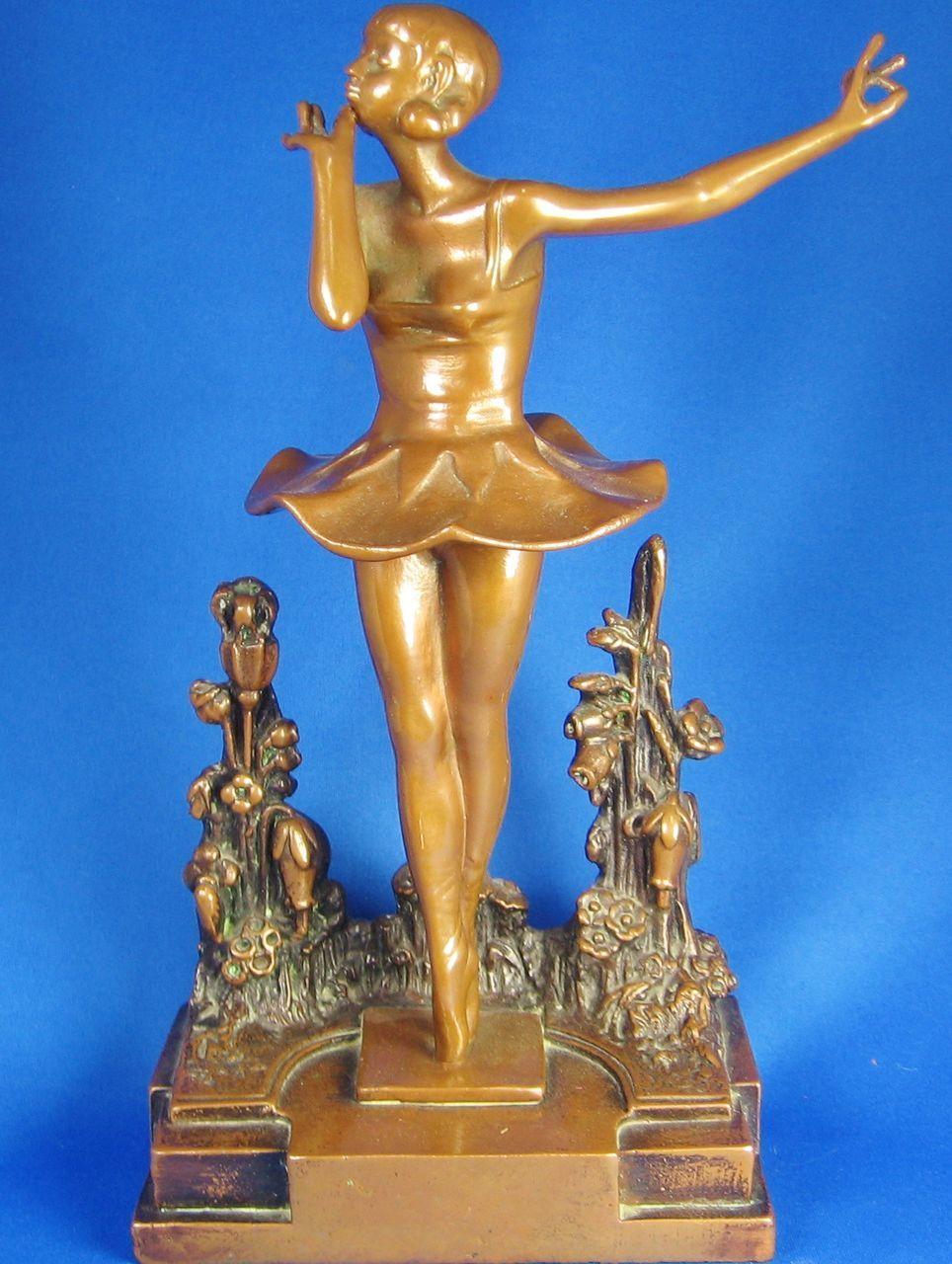 1920s Pompeian Bronze Dancing Ballerina Statue