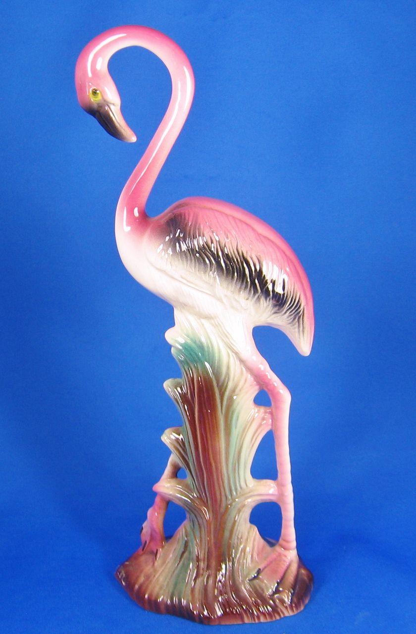 Vintage Pink Glazed Ceramic Flamingo Figural
