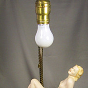 1920s Art Deco German Porcelain Lady Lamp