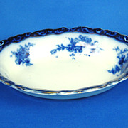 Victorian Henry Alcock Flow Blue Touraine Pattern Vegetable Bowl