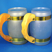 Two 1950s Siesta Ware Glass and Wood Mugs