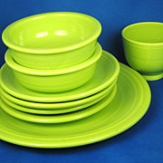 Homer Laughlin China Chartreuse Fiestaware Set-Reproduction