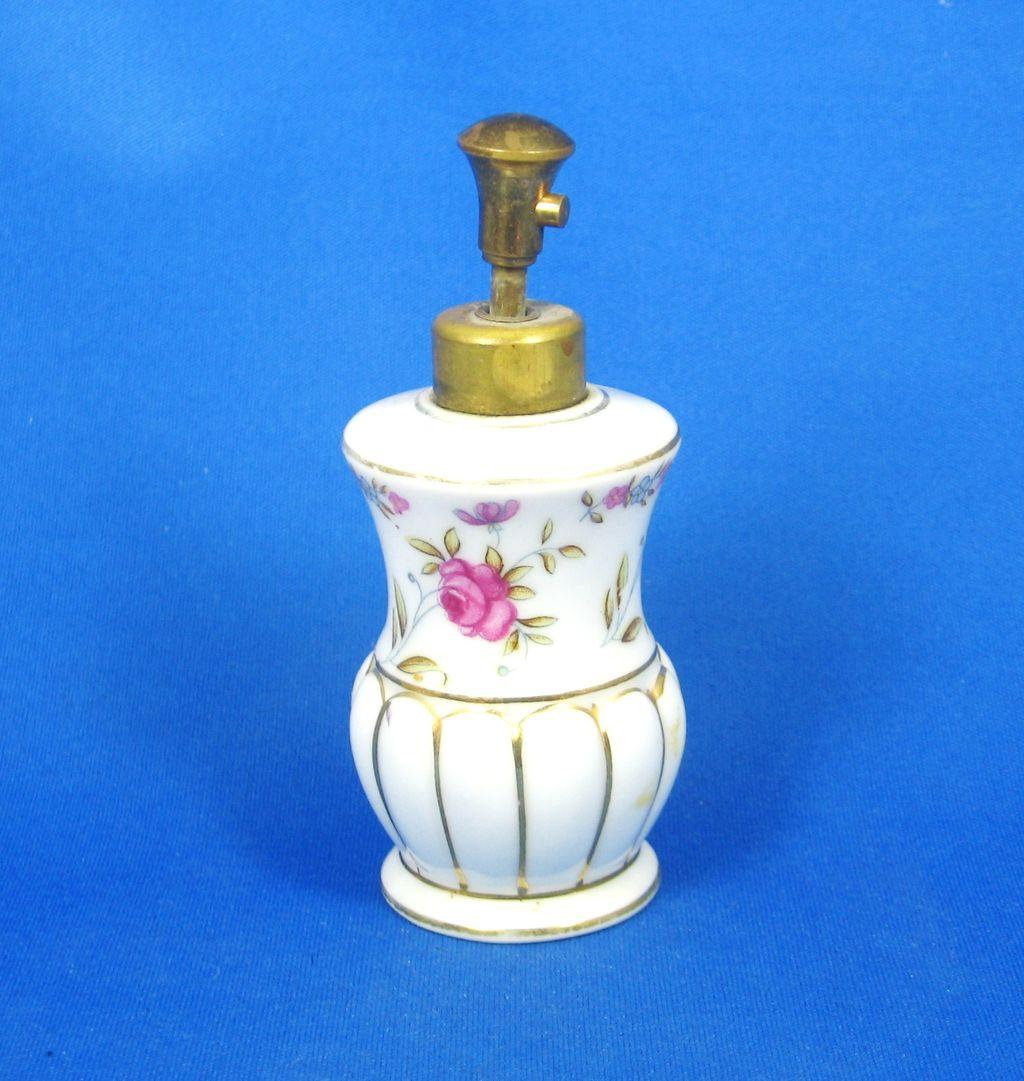 Vintage Porcelain Pink Rose Floral Perfume Bottle