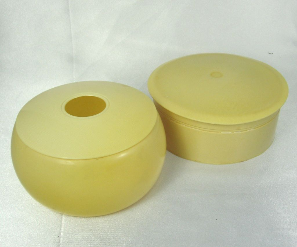 Vintage French Ivory Celluloid Powder Dish and Hair Receiver
