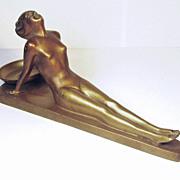 Art Deco NUART Creations Copper Tone Metal Ashtray Holder