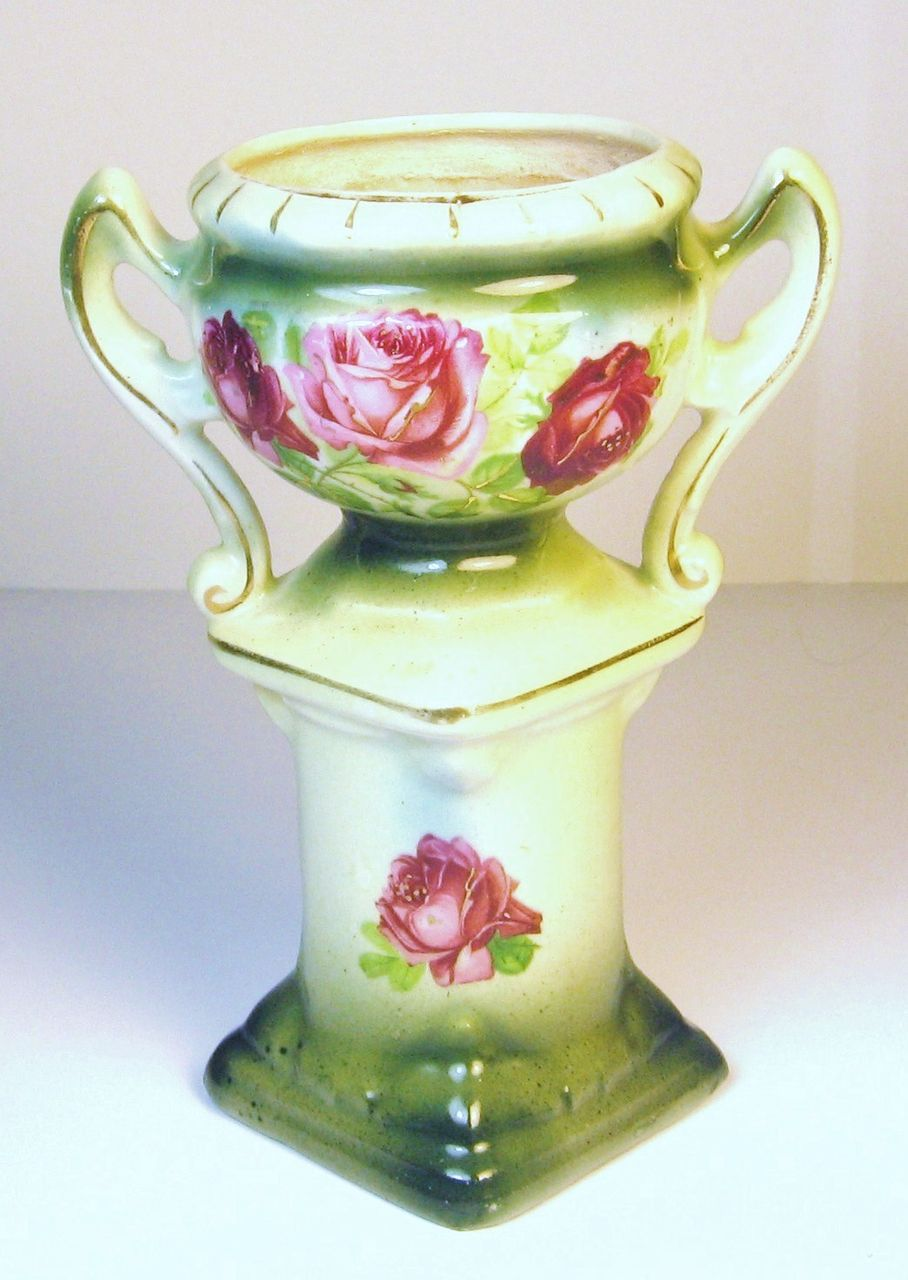 1920s Austria Porcelain Hand Painted Rose Vase