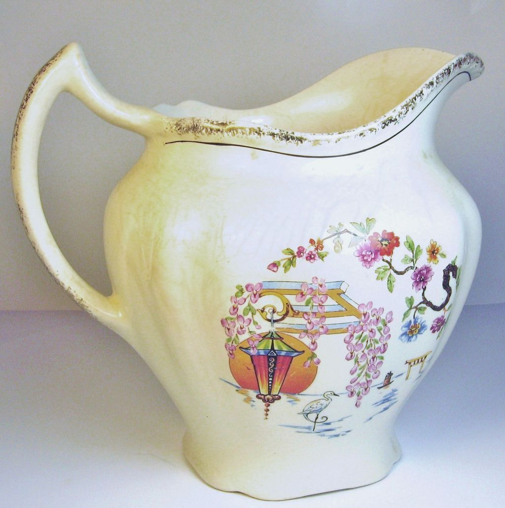 1940s Harker Floral Pattern Pottery Milk/Water Jug