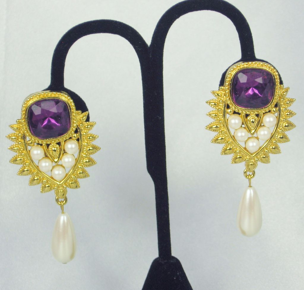 1993 Shaill Jhaveri Amethyst Glass and Imitation Pearl Earrings