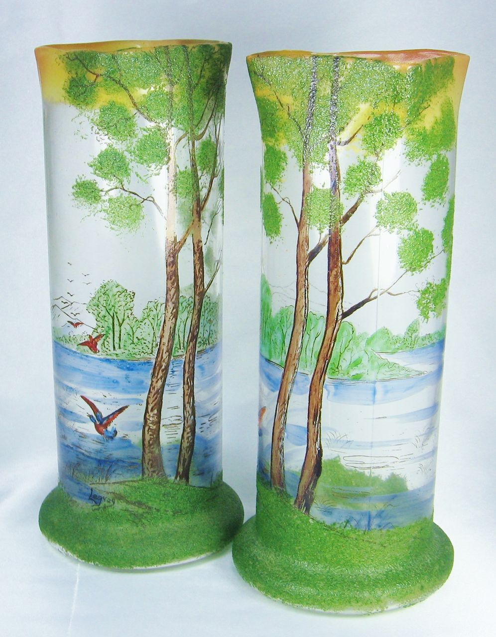 Antique Art Nouveau Legras French Mottled Cameo Glass and Enameled Landscape Lake Vases