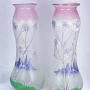 Art Nouveau Legras Cameo and Enameled Glass Winter Lake Landscape Vases