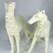 Vintage Art Deco Era Ceramic Wolfhound Dog Statues