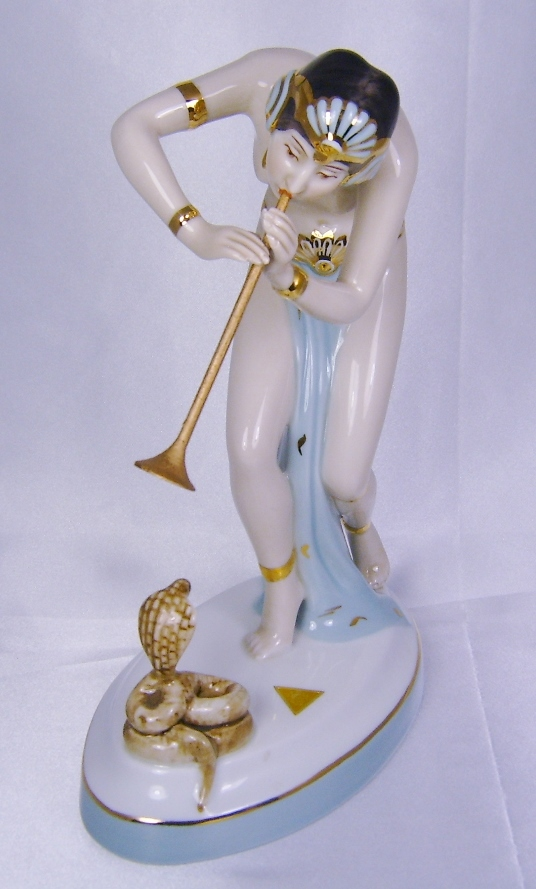 Royal Dux Bohemia Hand Painted Porcelain Female Snake Charmer Statue