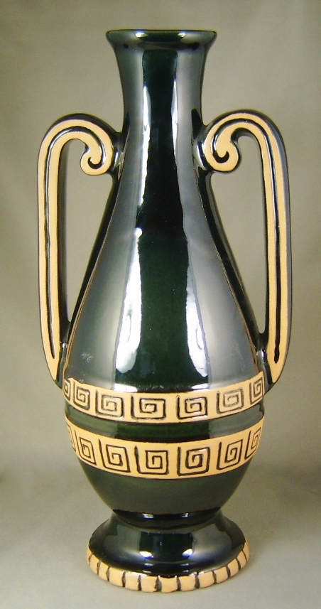 1980s Frankoma Joneice Frank Black Ceramic Amphora Vase