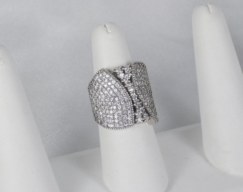 Vintage Art Deco Style Sterling Silver and Simulated Diamond Cluster Ring
