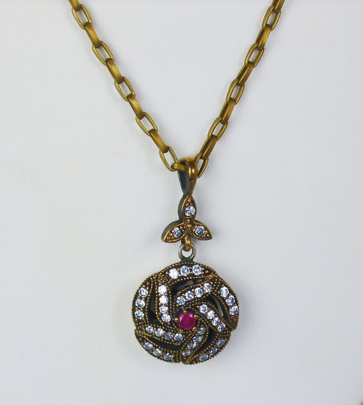 Vintage 18kt Rose Gold, Sterling Silver, Diamond, and Ruby Pendant Necklace