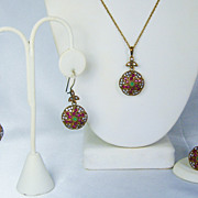 Vintage Ruby, Diamond, and Emerald Necklace, Ring, and Earrings Set
