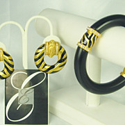 Elizabeth Taylor for Avon Zebra Stripe Collection Bracelet and Earrings