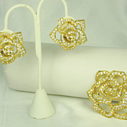 Elizabeth Taylor Avon Pave Rhinestone Rose Pin and Earrings Set