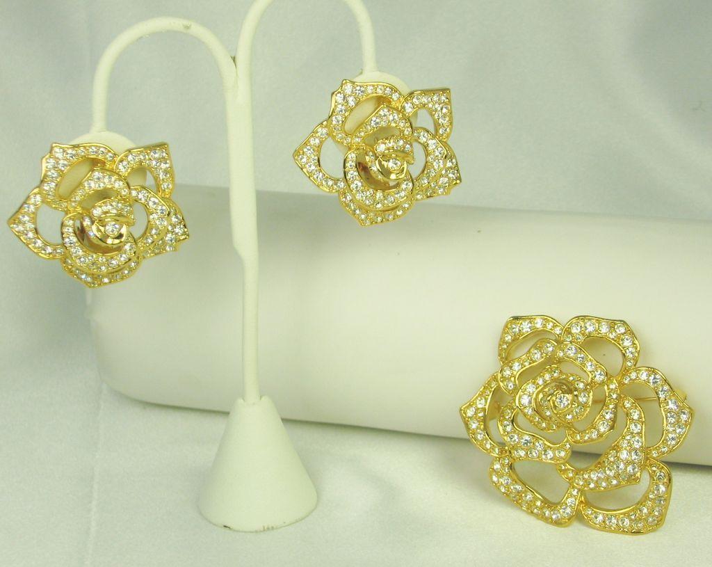 Elizabeth Taylor Avon Pave Rhinestone Rose Pin and Earrings Set