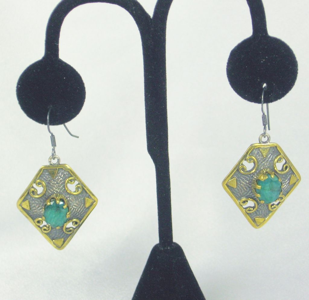 Vintage 925 Sterling Silver, 18kt Gold, and Muzo Emerald Earrings