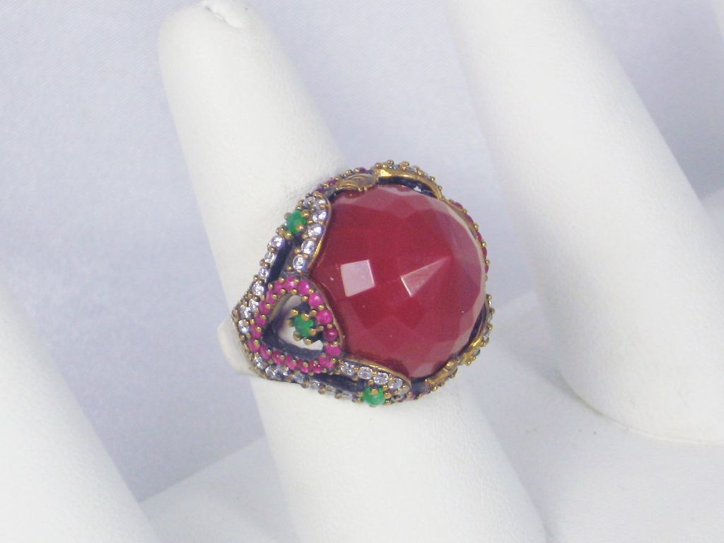 16 12cttw carnelian emerald ruby and ring from