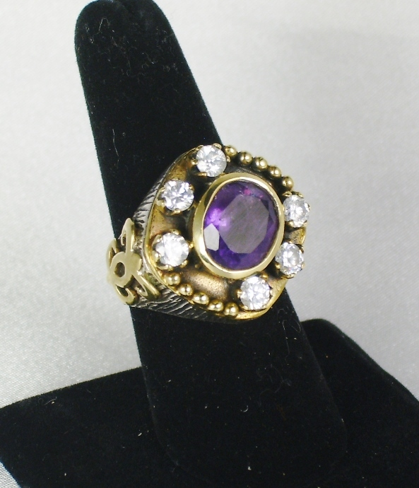 Vintage Sterling Silver Amethyst and Simulated Diamond Ring