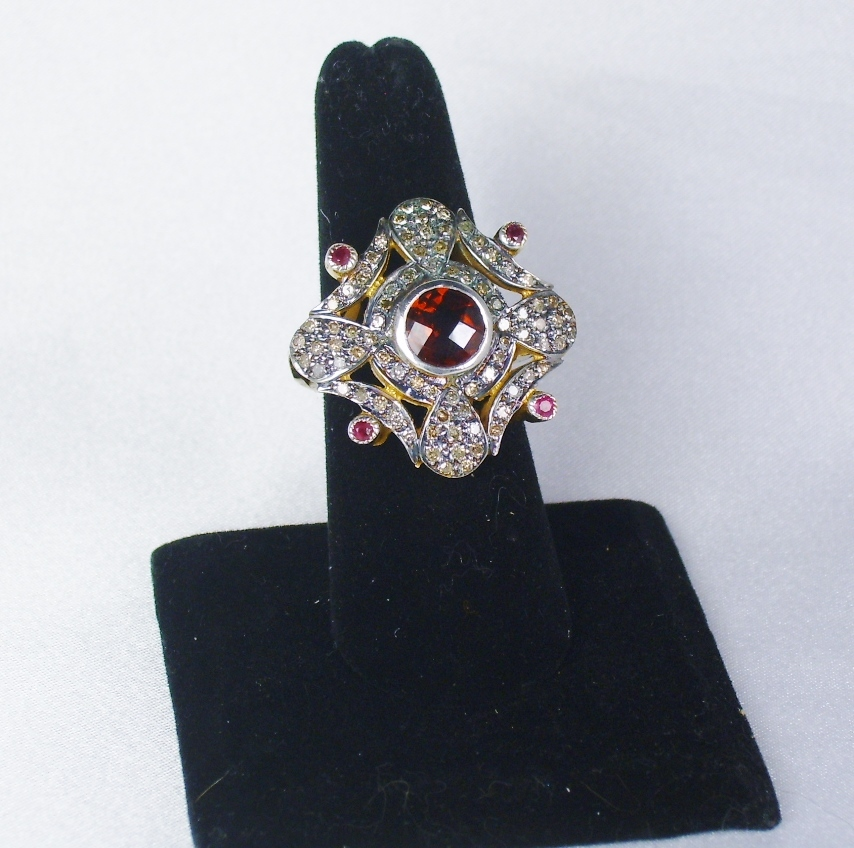 Stunning Vintage Simulated Diamond and Ruby Ring