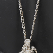 Vintage Elvis Pendant Silver Tone Metal Necklace
