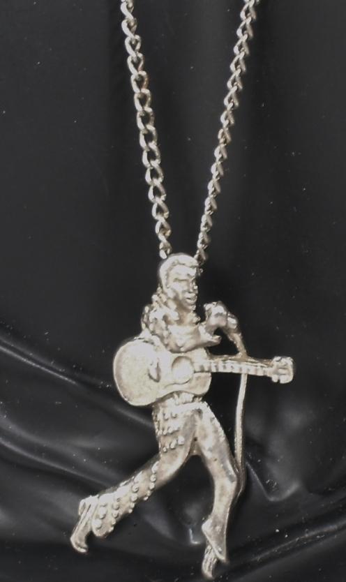 Vintage Elvis Pendant Silver Tone Metal Necklace