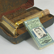 Collectible Gillette Double Edge Razor with Case and Blue Blades