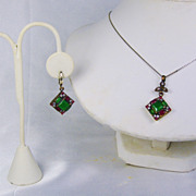 Vintage Sterling Silver, 18kt Gold, Simulated Diamond, Ruby, and Emerald Moghul Necklace and Earring Set