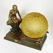 1930s Art Deco NUART Creations Nude Lady Globe Lamp