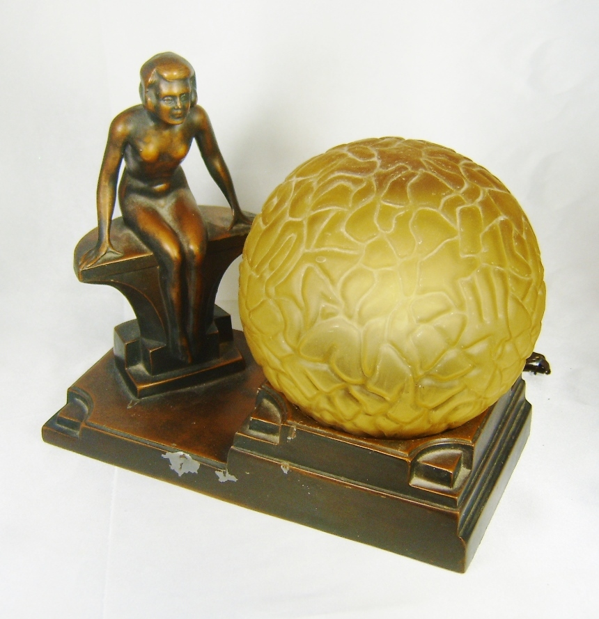 1930s Art Deco NUART Creations Nude Lady Globe Lamp