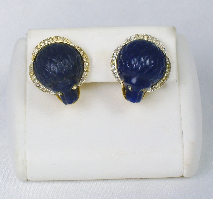 Vintage Hattie Carnegie Navy Blue Lion Head Earrings
