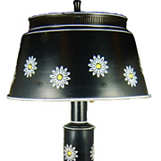 Vintage 1960s Black Tole Painted Lamp with Floral Design