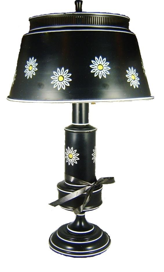 Vintage 1960s Black Tole Painted Lamp with Floral Design