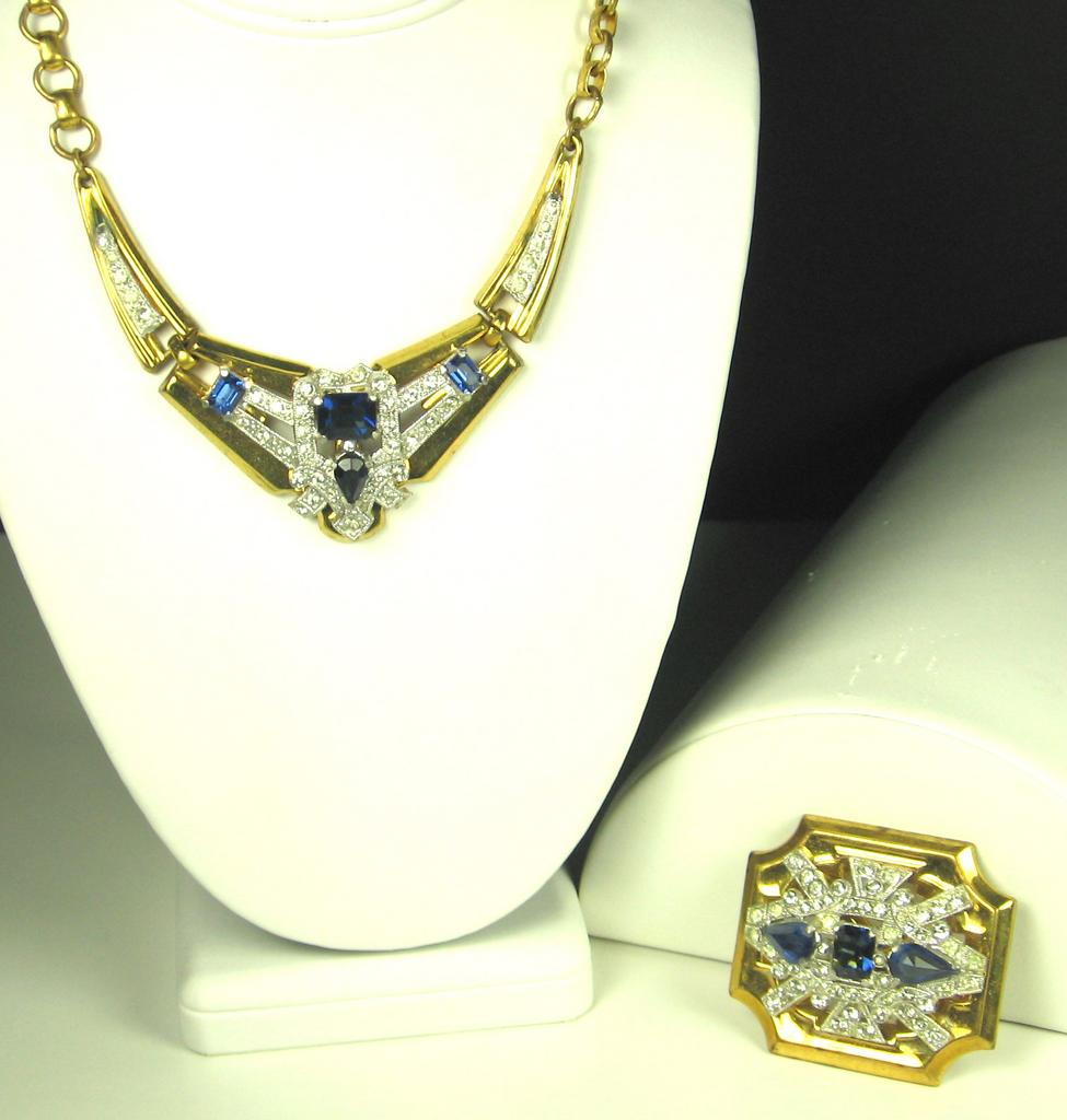 McClelland Barclay Sapphire and Gold Toned Metal Necklace and Brooch